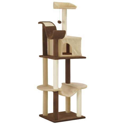 vidaXL Cat Tree with Sisal Scratching Posts 155cm Play Tower Poles Grey/Brown