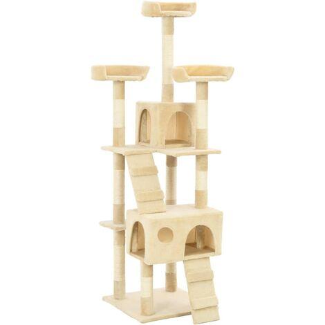 vidaXL Cat Tree with Sisal Scratching Posts 170 cm Beige - Beige