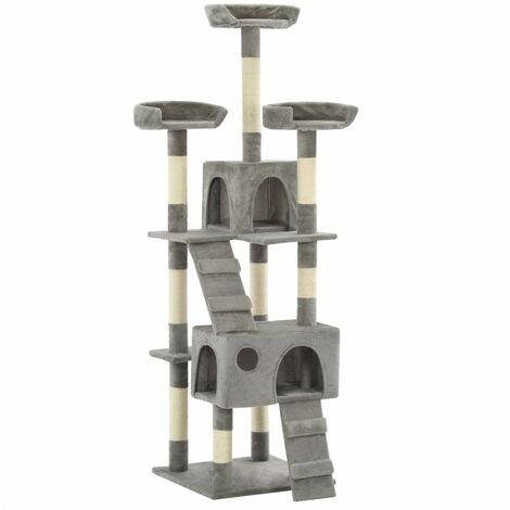 vidaXL Cat Tree with Sisal Scratching Posts 170 cm Grey - Grey