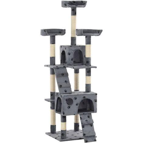 vidaXL Cat Tree with Sisal Scratching Posts 170 cm Paw Prints Grey - Grey