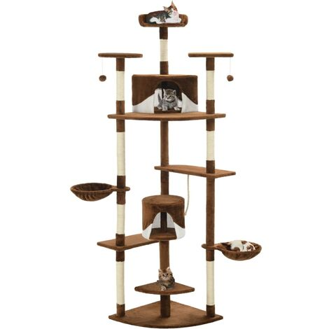 vidaXL Cat Tree with Sisal Scratching Posts 203 cm Brown and White - Multicolour