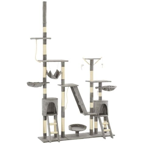 vidaXL Cat Tree with Sisal Scratching Posts 230-250 cm Grey - Grey