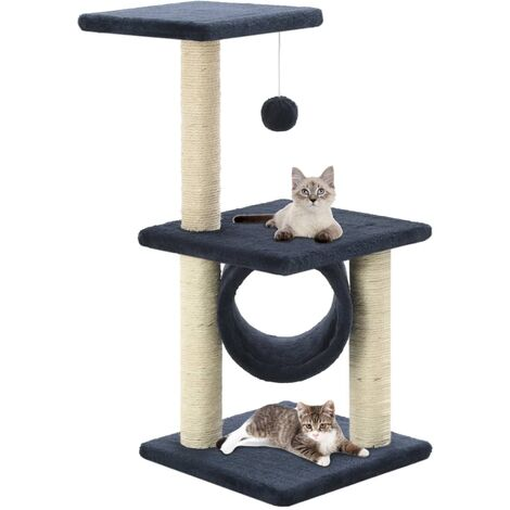 vidaXL Cat Tree with Sisal Scratching Posts 65 cm Kitten Playhouse Cat Play Tower Cat Cave Home Living Room Entertainment Multi Colours