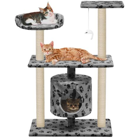 vidaXL Cat Tree with Sisal Scratching Posts 95 cm Kitten Playhouse Cat Play Tower Cat Cave Home Living Room Entertainment Multi Colours