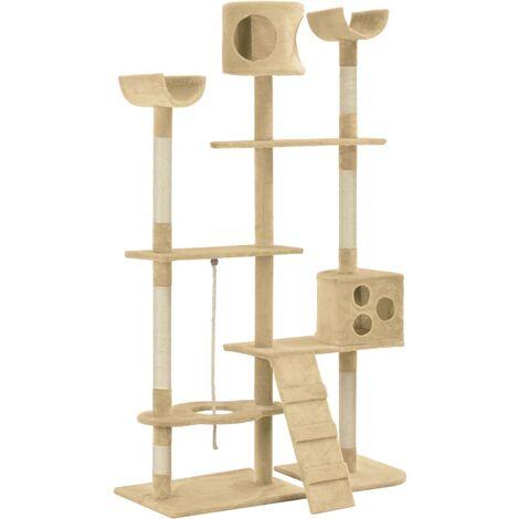 vidaXL Cat Tree with Sisal Scratching Posts Beige 180 cm - Beige