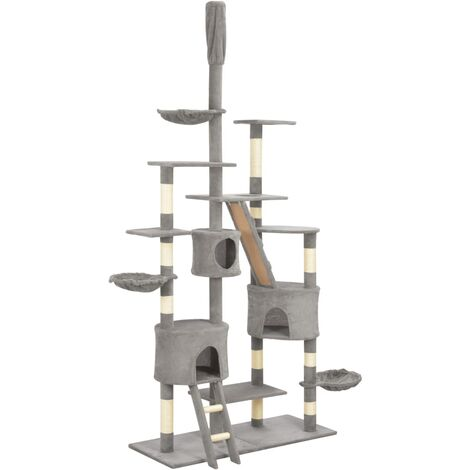 vidaXL Cat Tree with Sisal Scratching Posts Grey 255 cm - Grey