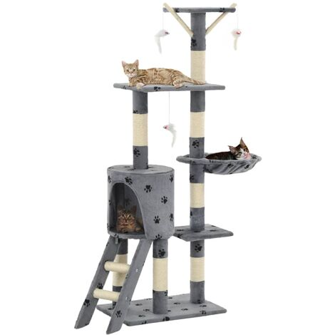 vidaXL Cat Tree with Sisal Scratching Posts Kitten Furniture Condo Playhouse Pet Activity Centre Climbing Tower Multi Colour