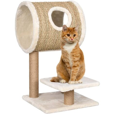 vidaXL Cat Tree with Tunnel and Scratching Post 69 cm Seagrass - Beige