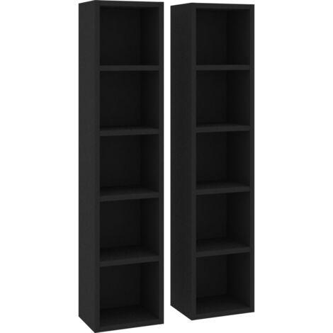 vidaXL CD Cabinets 2 pcs 21x16x93.5 cm Chipboard Black - Black