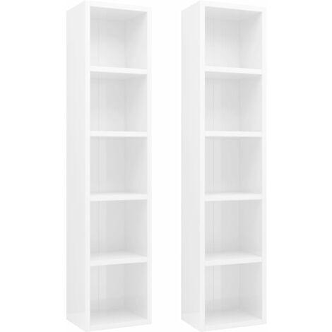"main image of ""vidaXL 2x CD Cabinets 21x16x93.5 cm Chipboard Office Living Room Furniture Storage Cabinet Rack Shelf Display Unit Bookshelf Multi Colours"""