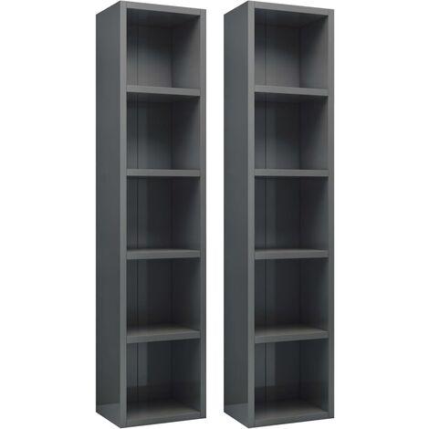 vidaXL CD Cabinets 2 pcs White 21x16x93.5 cm Chipboard - White