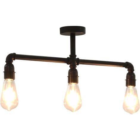 vidaXL Ceiling Lamp Black 3 x E27 Bulbs - Black