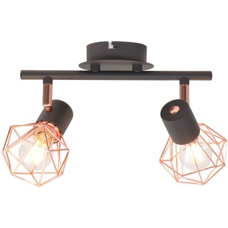 vidaXL Ceiling Lamp with 2 Spotlights E14 Black and Copper - Black