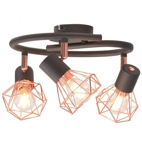 vidaXL Ceiling Lamp with 3 Spotlights E14 Black and Copper - Black