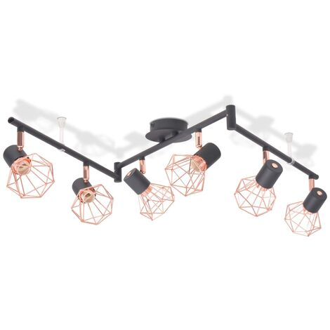 vidaXL Ceiling Lamp with 6 Spotlights E14 Black and Copper - Black