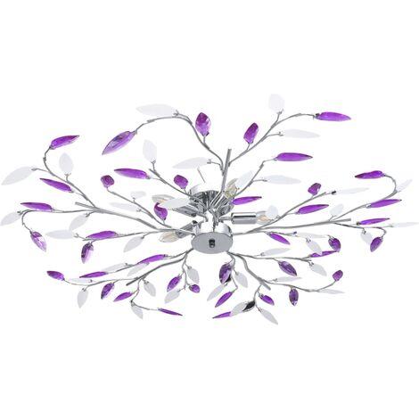 vidaXL Ceiling Lamp with Acrylic Crystal Leaf Arms for 5 E14 Bulbs Purple - Purple