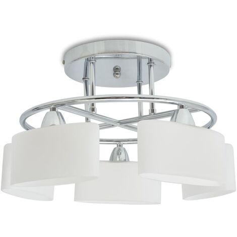 vidaXL Ceiling Lamp with Ellipsoid Glass Shades for 5 E14 Bulbs 200 W - White