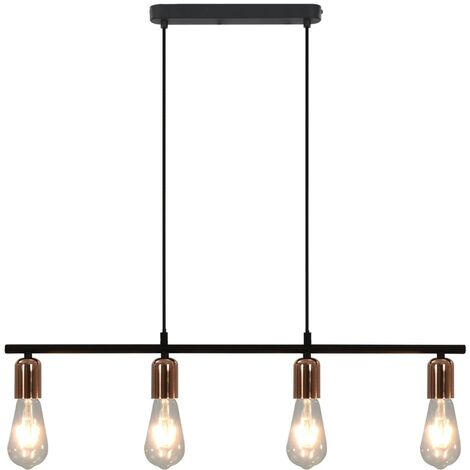vidaXL Ceiling Lamp with Filament Bulbs 2 W Black and Copper 80 cm E27 - Black