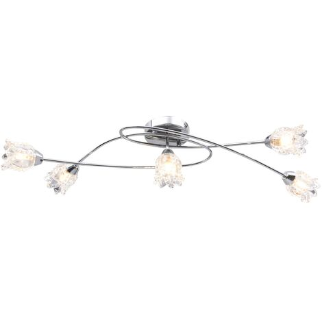 vidaXL Ceiling Lamp with Glass Flower Shades for 5 G9 Bulbs - Transparent