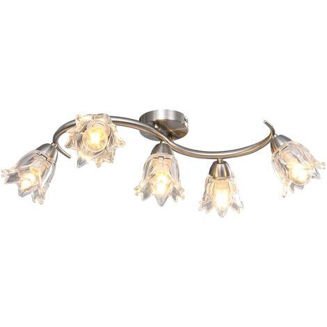vidaXL Ceiling Lamp with Transparent Glass Shades for 5 E14 Bulbs Tulip - Transparent
