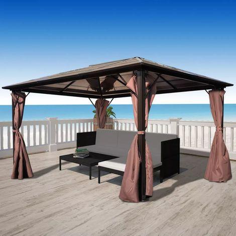 vidaXL Cenador con cortina marron aluminio 400 x 300 cm