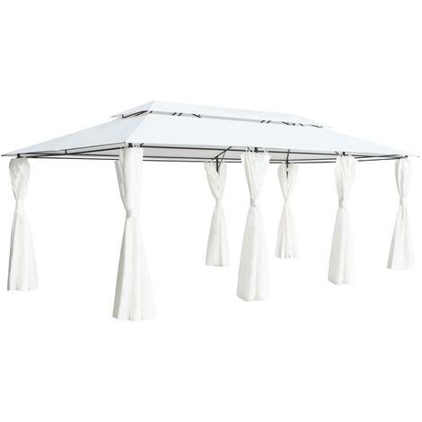 vidaXL Cenador con cortinas 600x298x270 cm blanco