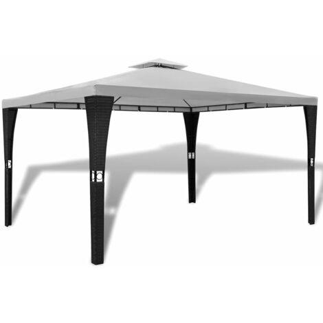 vidaXL Cenador con techo 3x4 m blanco crema - Crema