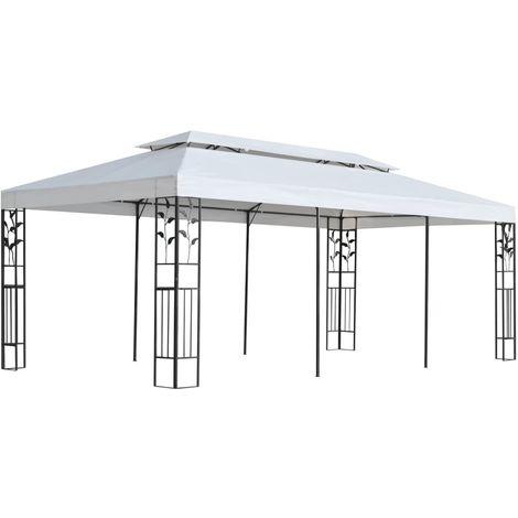 vidaXL Cenador de jardin 3x6 m blanco