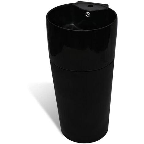 vidaXL Ceramic Stand Bathroom Basin Faucet/Overflow Hole Round White/Black