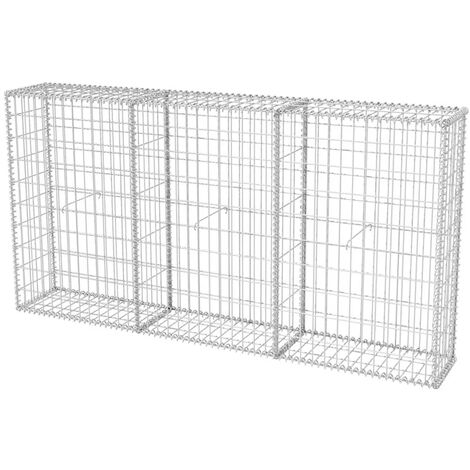 """main image of """"vidaXL Cesta de muro de gaviones acero galvanizado 200x30x100 cm - Plateado"""""""