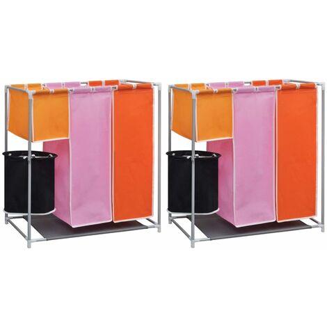 vidaXL Cesto de ropa sucia 2 unidades 3 secciones con cubo de lavado - Multicolor