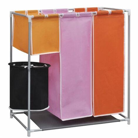 vidaXL Cesto de ropa sucia 3 secciones con cubo de lavado - Multicolor