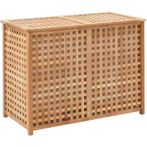 vidaXL Cesto para ropa sucia 87,5x46x67 cm madera maciza de nogal - Marrón