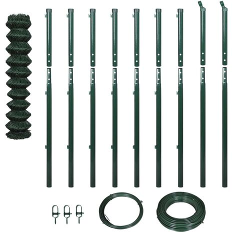 vidaXL Chain Link Fence with Posts 1.97x15 m Green - Green