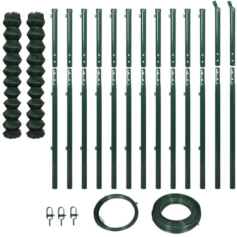vidaXL Chain Link Fence with Posts 1.97x25 m Green - Green