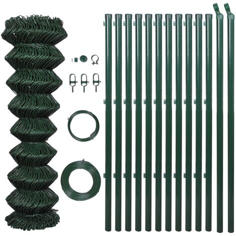 vidaXL Chain Link Fence with Posts Galvanised Steel 25x1.25 m Silver - Silver
