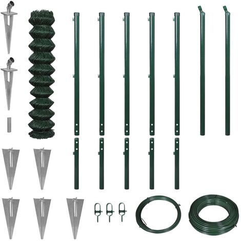 vidaXL Chain Link Fence with Spike Anchors 1.97x15 m Green - Green