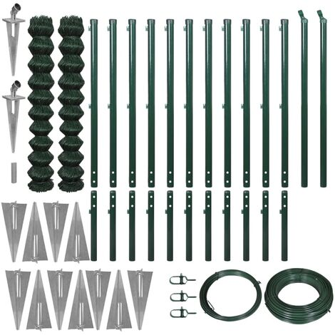 vidaXL Chain Link Fence with Spike Anchors 1.97x25 m Green - Green