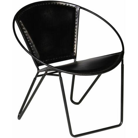 vidaXL Chaise Cuir Véritable Fauteuil de Relaxation Chaise de Détente Salon Salle de Séjour Maison Intérieur Jardin Extérieur Marron/Noir