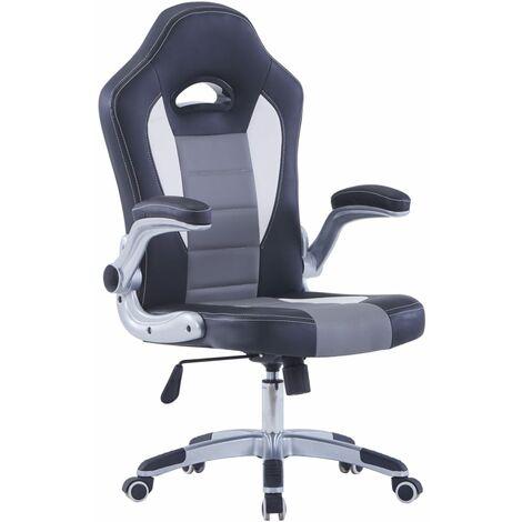 vidaXL Chaise de Jeu Similicuir Fauteuil de Bureau Siège de Bureau Chaise de Bureau Fauteuil d'Ordinateur Siège d'Ordinateur 5 Roulettes Noir/Bleu