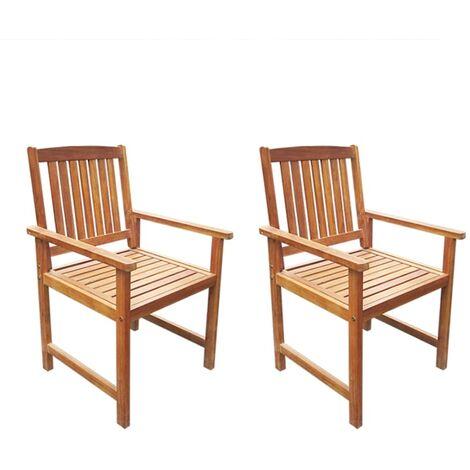Chaises de jardin 2 pcs Bois d'acacia massif Marron
