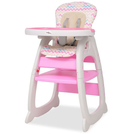 vidaXL Chaise Haute Convertible 3-en-1 avec Table Rehausseur Bébés Tout-petits Enfats Garçons Filles Cuisine Maison Intérieur Multicolore