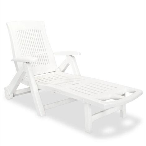 vidaXL Chaise longue avec repose-pied Plastique Blanc