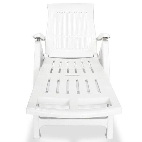 vidaXL Chaise longue avec repose pied Plastique Blanc 43586FR