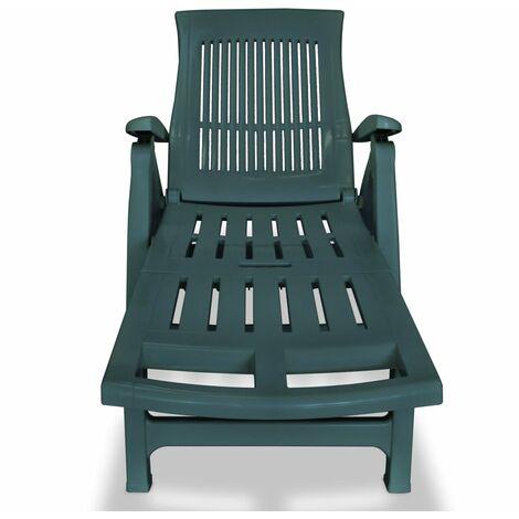 Chaise Longue avec Repose pied Plastique Vert