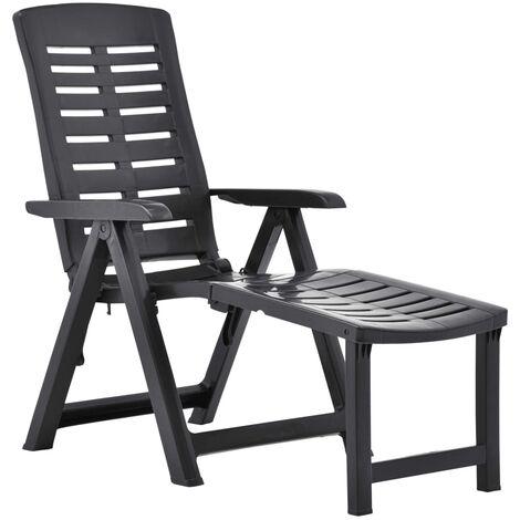 vidaXL Chaise Longue Pliable Plastique Chaise Longue de Jardin Chaise Longue de Patio Chaise Longue de Terrasse Arrière-cour Extérieur Multicolore