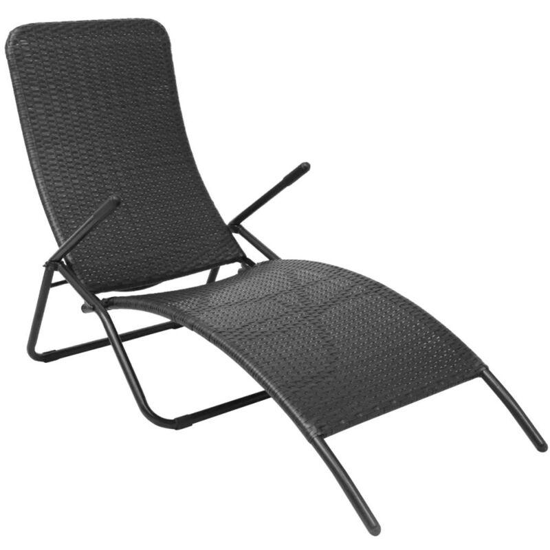 Asupermall - Chaise longue pliante Rotin synthetique Noir