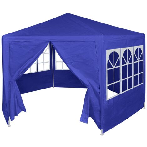 vidaXL Chapiteau avec 6 Murs Latéraux Belvédère de Jardin Tonnelle de Terrasse Pavillon de Patio Tente de Réception Extérieur Blanc/Bleu
