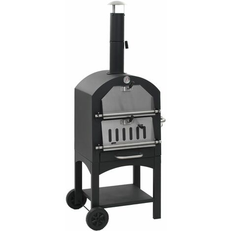 """main image of """"vidaXL Charcoal Fired Outdoor Pizza Oven with Fireclay Stone - Black"""""""