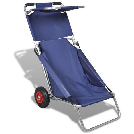 Vidaxl Chariot De Plage Avec Roues Portable Et Pliable Bleu